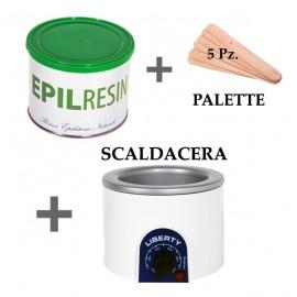 1 barattolo Epilresin + 1 fornello scaldacera
