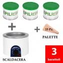 3 barattoli Epilresin + 1 fornello scaldacera
