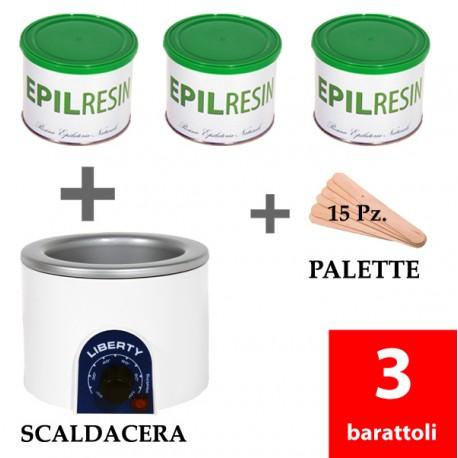 3 barattoli Epilresin 1 fornello scaldacera