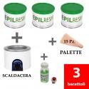 3 barattoli + 1 lozione Epilresin + 1 fornello scaldacera