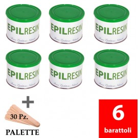 6 barattoli resina epilatoria naturale Epilresin