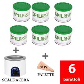 6 barattoli Epilresin + 1 fornello scaldacera