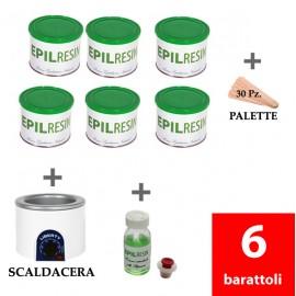 6 barattoli + 1 lozione Epilresin + 1 fornello scaldacera