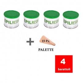 4 barattoli resina epilatoria naturale Epilresin